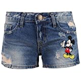 Disney Vintage Distressed Washed Cotton Denim LOVE Mickey Mouse Summer Shorts