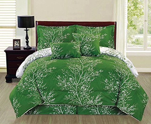 Ace 6-piece Reversible Soft Forest Green Tree Branches Comforter Set (Full Size) (Full Size Bed Quilt compare prices)