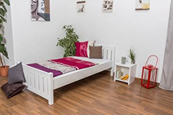 Bettgestell / Gästebett Kiefer massiv Vollholz weiß lackiert 66, inkl. Lattenrost - Abmessung 100 x 200 cm