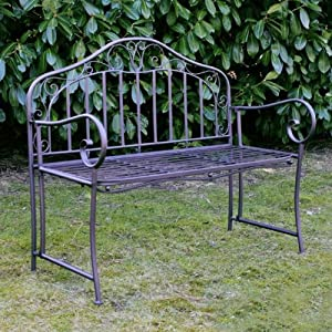 gartenbank eisen metallbank stabil deko bank metall 2 sitzer 110cm neu. Black Bedroom Furniture Sets. Home Design Ideas