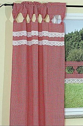 hochwertige gardine schal bergardine landhausstil rot wei klein kariert mit wundersch ner. Black Bedroom Furniture Sets. Home Design Ideas