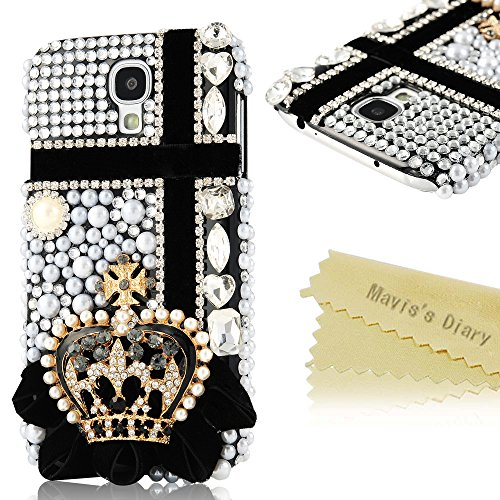 Mavis'S Diary 3D Handmade Bling Crystal Crown Rhinestone Cross Diamond Hard Case Black Cover For Samsung Galaxy S4 Samsung Galaxy S Iv I9500 I9505 Sph-L720 Sgh-I337 Sch-I545 Sgh-M919 Sch-R970 Samsung Galaxy S4 Lte-A With Soft Clean Cloth (Crown With Cross