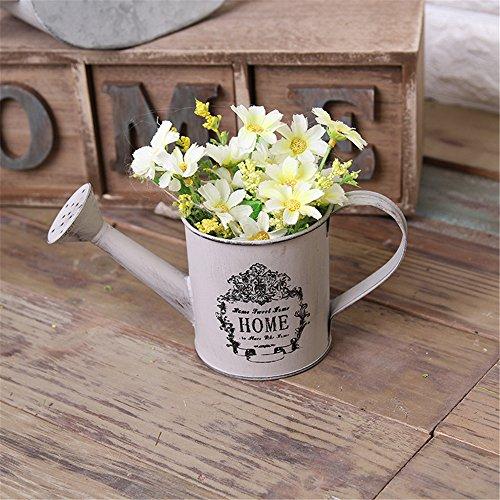 VANCORE Vintage White Shabby Chic Mini Metal Pitcher Flower Vase 0