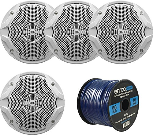 "4 X New JBL MS6510 6.5"" 150 Watts Marine Boat Yacht Outdoor Waterproof Stereo Audio Speakers System with 50 Ft. Marine Speaker Wire Bundle - Great Marine Speakers Kit (4)"