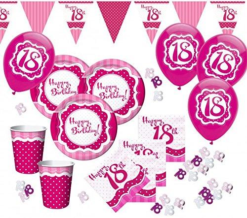 58 teile zum 18 geburtstag party set perfectly pink f r Deko 30 geburtstag pink