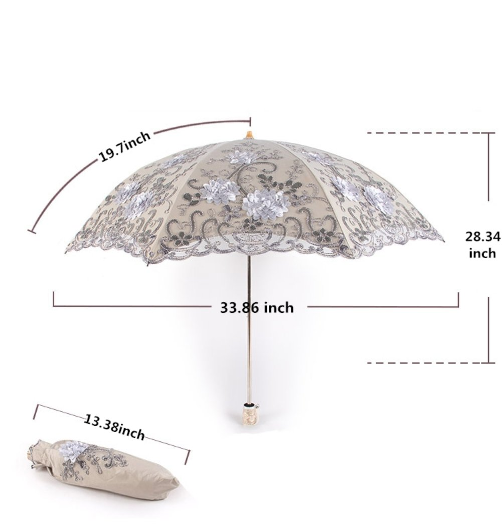 Honeystore Vintage Lace UV Sun Parasol Two Folding 3D Flower Embroidery Umbrella 5