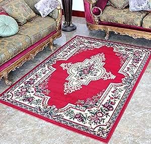ustide cheap red floral living room carpet