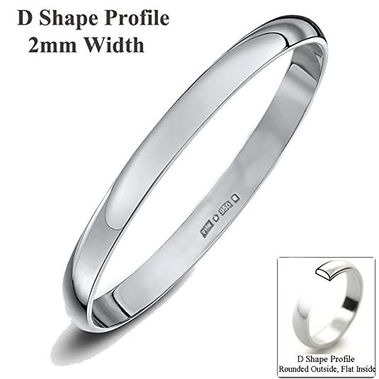 Xzara Jewellery - Platinum 2mm D Shape Hallmarked Ladies/Gents 2.0 Grams Wedding Ring Band