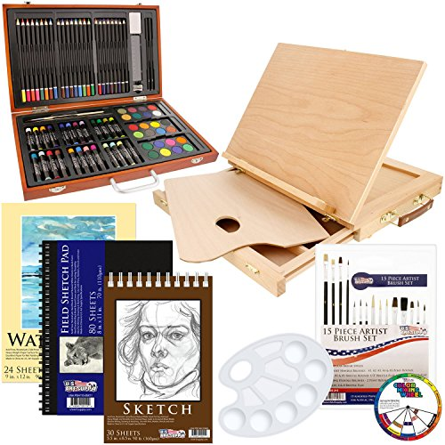 US Art Supply 82 Piece Deluxe Art Creativity Set in Wooden Case, Wood Desk Easel and BONUS 20 additional pieces - Deluxe Art Set (Tabletop Easel Blick compare prices)