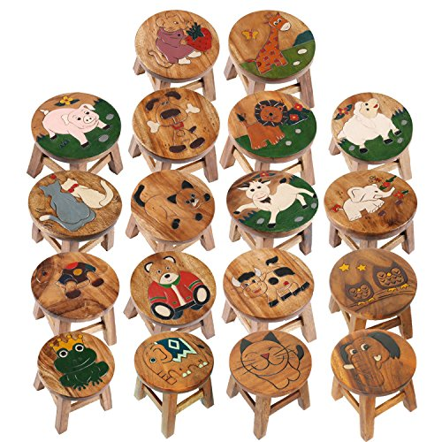 Taburete infantil hecho a mano silla infantil de madera maciza - varios motivos animales - Ben: el elefante, toalla azul