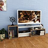 ALIDA TV Lowboard - White / Walnut - TV Stand / Unit for living room in elegant design, width 137.50cm