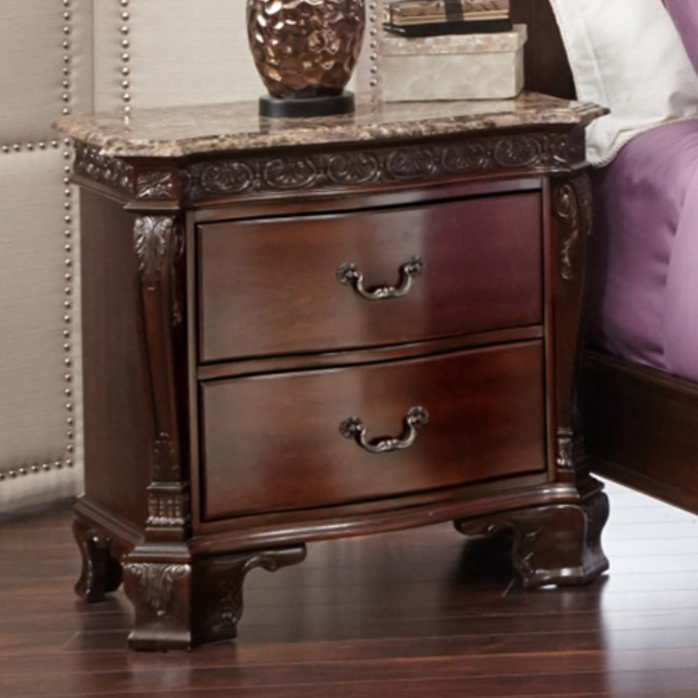 Picket House Furnishings Victoria Marble Top Nightstand, Dark Chestnut