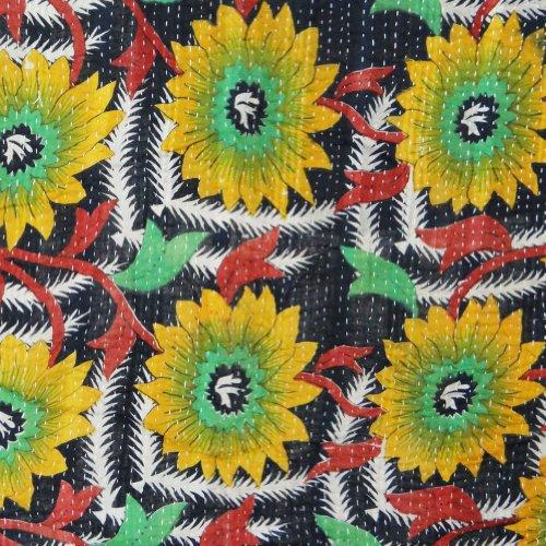 Kantha Quilt Verde adolescente Tamaño Kantha Quilt Vintage Gudri Floral Reverssible Colcha