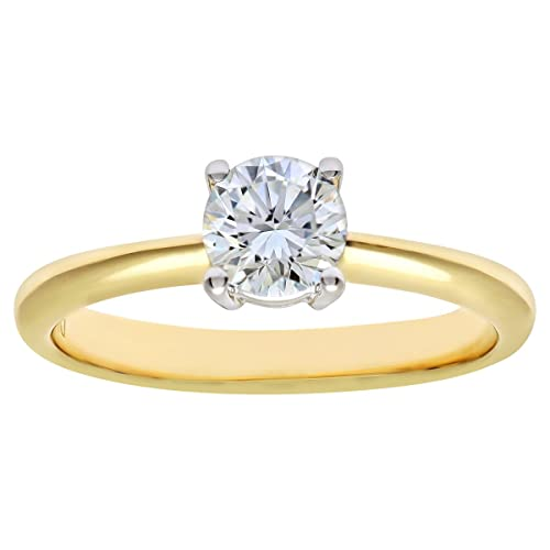 Naava 18ct 4 Claw Engagement Ring, G/SI3 EGL Certified Diamond, Round Brilliant, 0.61ct