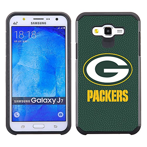 Samsung Galaxy J7 (2015 Version Only) Green Bay Packers Pebble Grain Feel Multi Layer Case Green from GameWear