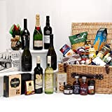 The Lord & Lady Gift Hamper - Large Luxury Wicker Basket with 24 Gourmet Food Items and Moet Champagne, Taylors Port, Baileys & 4 Bottles of Wine from Fine Food Store Gift ideas for - Fathers Day, Mothers Day,Valentines,Presents,Birthday,Men,Him,Dad,Her,