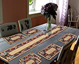 Glamkart Jacquard Fabric Set Of Seven Mats With Runner