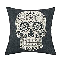 Inspiredbyfashionista 45x45cm Black Skull Halloween All Hallows' Eve Gift Present Linen Cushion Covers Pillow Cases Trick-or-treating by Inspiredbyfashionista