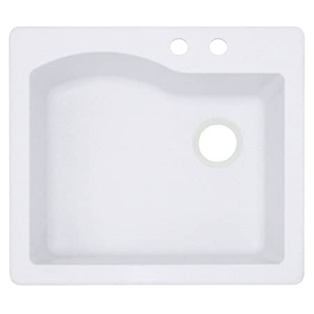 Swaoi #Swanstone QZ02522SB.075-2B 22-In X 25-In Granite Kitchen Sink 2-Hole, Bianca,