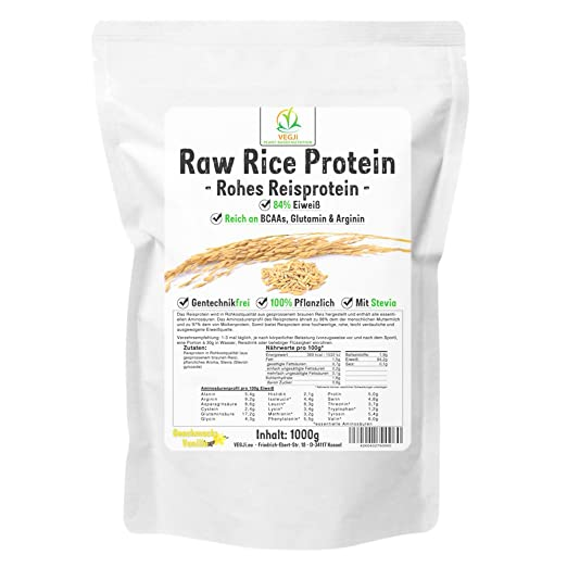 Raw Rice Protein Isolate 1000g Vanille, Reisproteinisolat in Rohkostqualität, vegan, mit Stevia