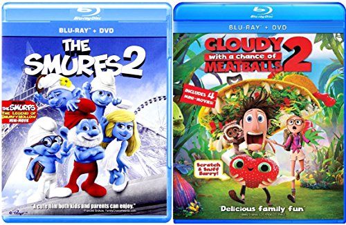 Cloudy with a Chance of Meatballs 2 & The Smurfs 2 - Blu Ray + DVD Cartoons awesome Animated Set