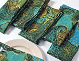 """Colorful Paisley Cotton Dinner Napkins - 20"""" x 20"""" - Set of 12 Premium Table Linens for the Dining Room - Turquoise, Gold, Green and Chocolate"""