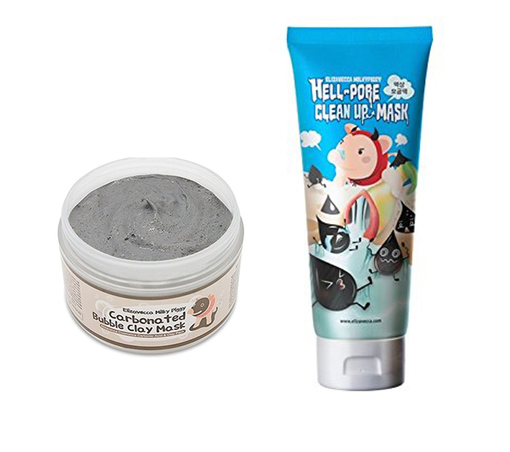 (Elizavecca) milky piggy Hell-Pore Clean Up nose Mask + Carbonated Bubble Clay Mask SET