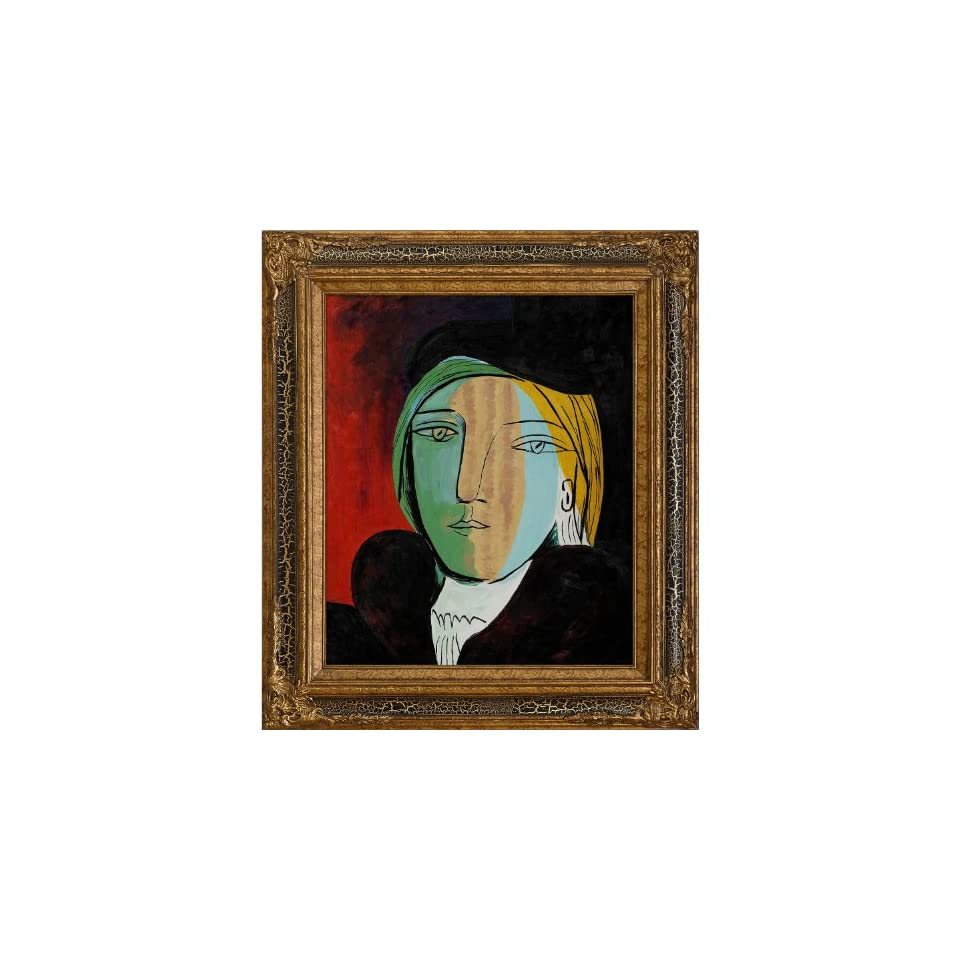 Art Picasso Portrait of Marie Therese with Black Crackle King Frame Oil Painting