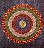 Sunshine Joy Circle Of Flowers Barhmeri Indian Tapestry - Beach Sheet - Hanging Wall Art (85X100 inches)