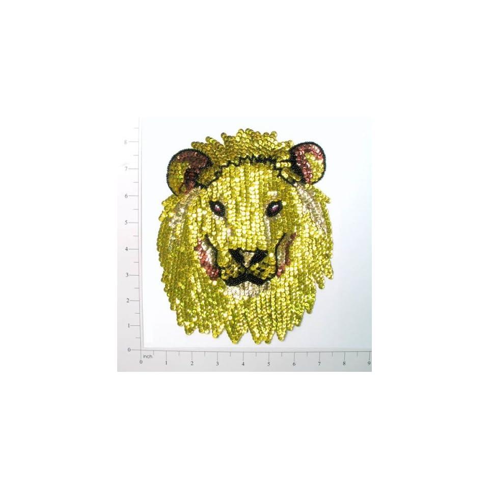 Lion Head Sequin Applique Gold