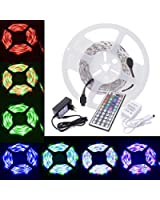 5 Meter Complete YAGGU SET: 5050 RGB LED STRIP With 44 key Remote Control + 12V Power Supply + IP Receiver. Twice Brighter than 3528 SMD Ever.