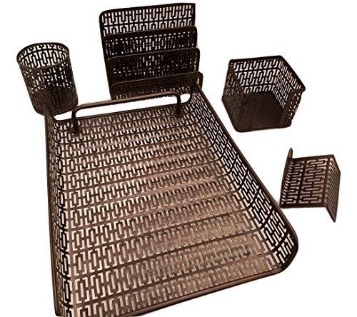 Desk Organizer Office Accessories Set - 5 Piece Set- Letter Sorter ,Pen Case and Sticky Note Holder (Black Dark Bronze) (Newspaper Storage Container compare prices)