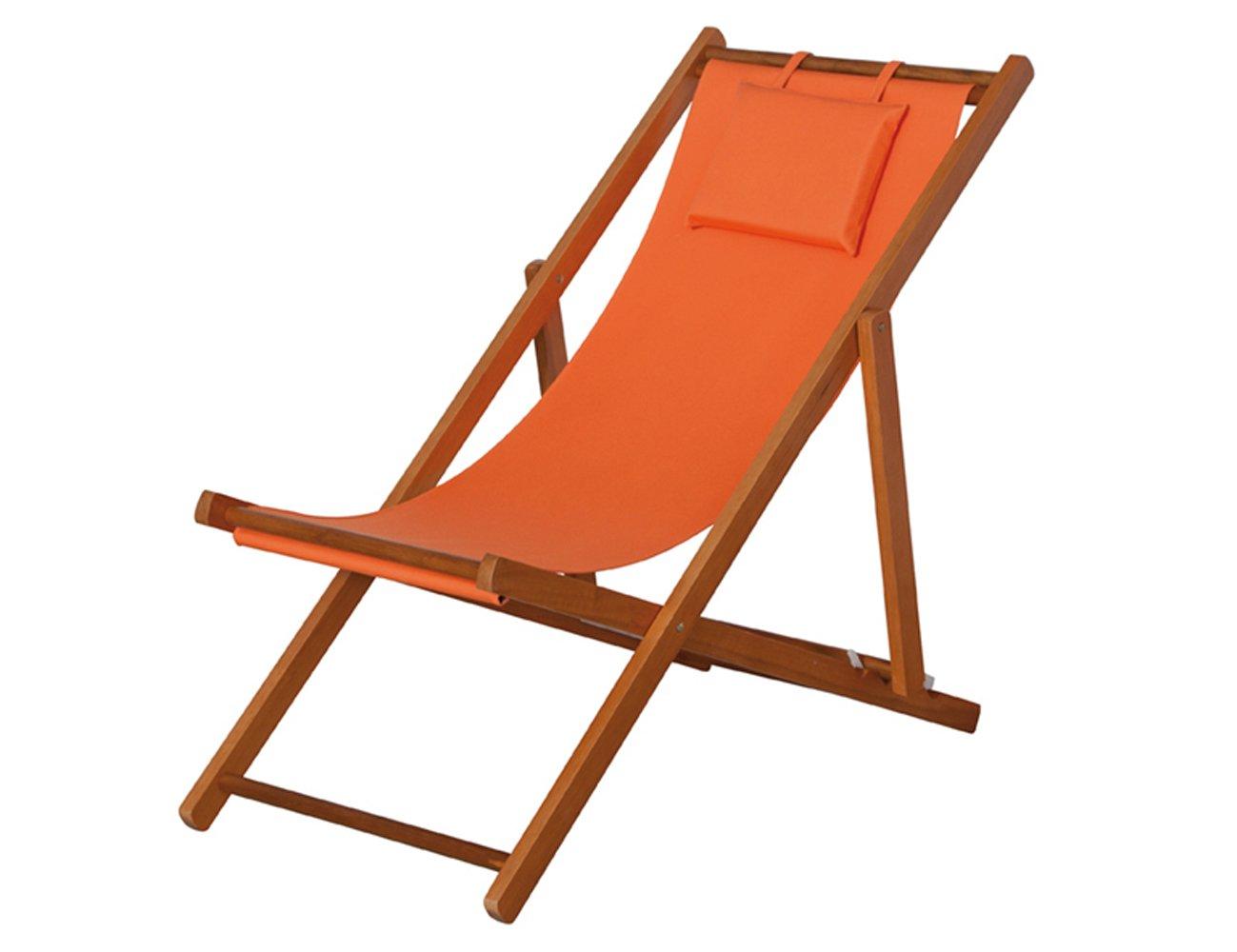 Siena Garden 672582 Liegestuhl Faro Hartholz-Gestell Stoffbezug orange Rücken mehrfach verstellbar