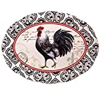 Rooster Oval Stoneware Platter