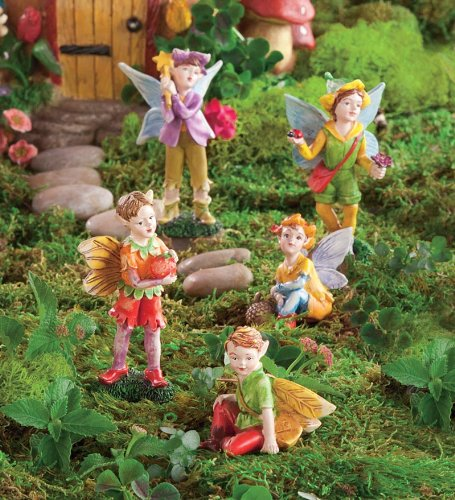 HearthSong Nature Themed Fairies, Set of 5, in Boy
