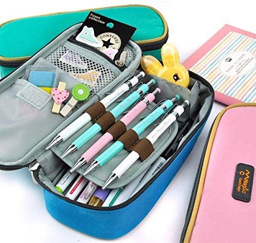 Rashen(TM) Large Storage Pencil Case Pencil Holder Cosmetic Makeup Pouch Zipper Bag verde