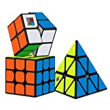 Dreampark Speed Cube Bundle [3 Pack] 2x2x2 3x3x3 Pyramid Sticker Magic Cube Set Puzzle Cube Toys for Kids and Adults