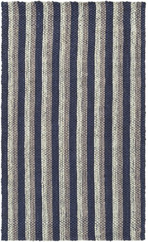 5' x 8' Country Breeze Navy and Cream Hand Woven Jute Area Throw Rug