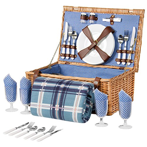 New Best Choice Products 4 Person Wicker Picnic Basket Set W/ Cutlery, Plates, Glasses, Tableware & ...