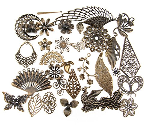 ALL in ONE Mixed Antique Bronze Filigree Charm Pendant Jewelry Findings: 50g/55pcs (Folding Fan Making Supplies compare prices)