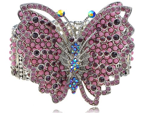Large Pink Crystal Rhinestone Beaded Butterfly Statement Fashion Bracelet Cuff
