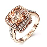 Acefeel Yellow Shinning Cubic Zirconia Topaz Rings For Women 18K Rose Gold Plated
