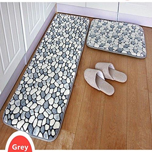 Ustide 2-Piece Grey Stone Rug Bathroom Rug Set Coral