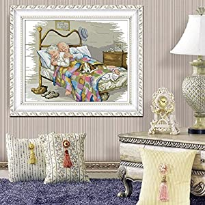 The Old Married Couple Counted Cross Stitch 14CT Printed DMC Cross Stitch Set DIY Cross-stitch Kits Embroidery Needlework14CT/Printed-R776 (Tamaño: 14CT-Stamped)