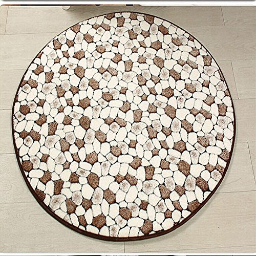 Ustide Coral Fleece Round Pebbles Carpet Coffee Color Cobblestone Rustic Living Room Floor Area Rug Soft Warm Bedroom Round Rug 3X3
