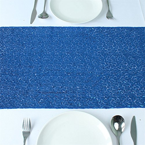 Soardream 14x120 inch navy sequin table runner shiny table for Table runners 52 inches