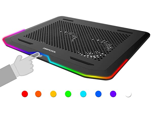 DEEP COOL N80 RGB Laptop Cooling Pad, 16.7 Million RGB Colors LED, Pure Metal Panel, Two 140mm Fans, Two Adjustable Angels, Two USB 3.0 Ports, Capacitive Touch Key, up to 17.3 Notebooks (Color: N80 RGB, Tamaño: Adjustable angels)