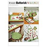 Butterick Patterns B5660 All Sizes Apron Hot Pads Pot Holders Place Mat Napkin and Seat Cushion , Pack of 1, White