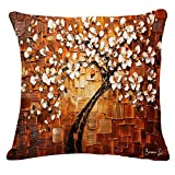"Cotton Linen Square Decorative Throw Pillow Case Cushion Cover 3d Colorful Oil Painting Beautiful Flowers Tree 18 ""X18 "" (2)"