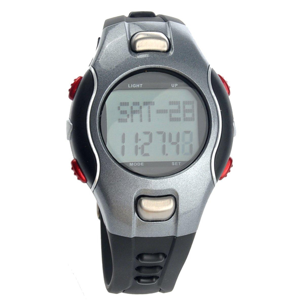Pixnor 1002 All-in-One wasserdichte trägerlos-Herzfrequenz-Monitor LED Digital Uhr mit Schrittzähler Stoppuhr /Date /Alarm (grau + rot) günstig kaufen